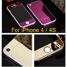 Front+Back Mirror Effect Electroplating Colorful Tempered Glass For iPhone 4S 4 Full Cover Screen Protector Protective Film