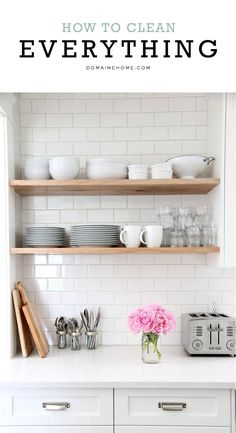 Modern Farmhouse | Light wood shelves, white subway tile. Utensils in pint canning jars with rings.