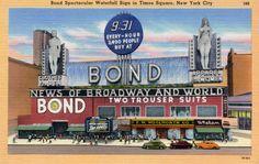 Bond Clothing Store, circa 1948 on Linen Postcard