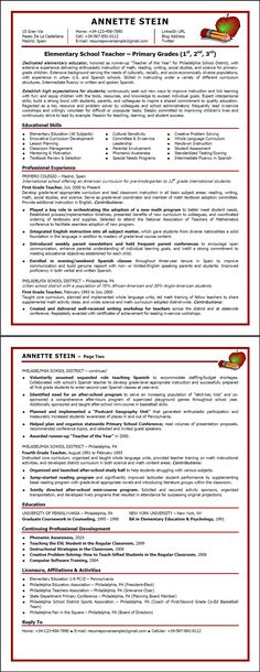 Elementary School Teacher Resume Example 教師、ティーチング - sample preschool teacher resume