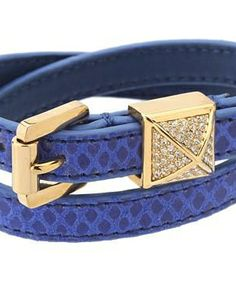 Michael Kors Collection Double Wrap Pyramid Bracelet #accessories  #jewelry  #bracelets  https://www.heeyy.com/suggests/michael-kors-collection-double-wrap-pyramid-bracelet-blue-jay-python-gold-pyramid/