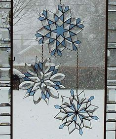 Snowflake stain glass. Beautiful window decorations #230