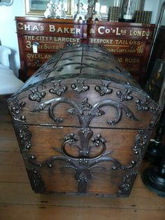 European Antiques: WOW!! Love this trunk! We have one that's over 120 yrs. old, but it's not as decorative....beautiful!