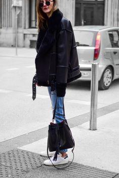 The best black shearling jacket, katiquette