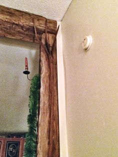 Antique hay fork hanging up. Antique Items, Fork, Beams, Oversized Mirror, Curtains, Rustic, Decorating, Antiques, Furniture