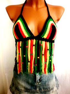 Beads Summer Bra Tops Rasta Backless Top Yellow Sexy Crochet Tops Jamaican bob Marley Fringes Tank Halter Corset Festival Bandeau Art