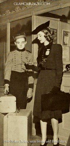 1940-Bolero-Jacket-satin-blouse-and-flared-skirt.