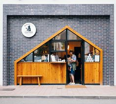 New design cafe exterior coffee shop ideas Small Coffee Shop, Coffee Shop Design, Coffee Shops, Coffee Shop Japan, Kiosk Design, Facade Design, Cafe Exterior, Stucco Exterior, Stand Design