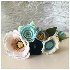 WOODLAND FELT FLOWER CROWN // Made of soft and durable wool blend felt with a 2 week turnaround time. This whimsical crown features poppies and roses in a soft feminine color pallet. One large poppy in soft linen with a yellow and butterscotch center flanked by one arctic mint rose, one