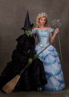 Alice Fearn (Elphaba) and Sophie Evans (Glinda) Photo by Darren Bell