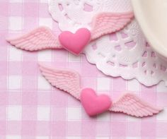 6 x Hearts with Large Angel Wings Flat Back Cabochon Kawaii Decoden (100) on Etsy, $4.55 AUD