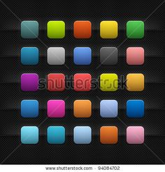 Look more my images http://www.shutterstock.com/gallery-498844.html — 25 popular color blank web app internet application button. Striped rounded square shape with black drop shadow on dark metal background texture. This vector saved in 10 eps. See more web button in my gallery — #Royalty #free #stock #photo #illustration for $0.28 per download http://submit.shutterstock.com/?ref=498844