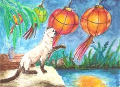 A Siamese cat is curious about a brightly lit Chinese lantern.