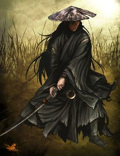 A ronin was a samurai with no lord or master during the feudal period of Japan. A samurai became master-. Ronin Samurai, Samurai Warrior, Amaterasu, Ninja Kunst, Samourai Tattoo, Bushido, Samurai Artwork, Japanese Warrior, Japanese Dragon