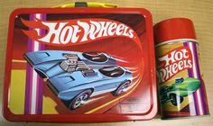 Hot Wheels Antique Lunch Box & Thermos  (Vintage Metal Lunchbox, Redline)
