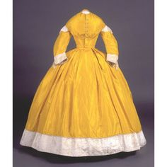 1861 dress originally owned by Caroline Lucinda Bolles, American. Hand-stitched and machine-stitched silk with cotton lining and cashmere or mohair plush and silk cording. Bodice: Metal boning, brass hooks and eyes, silk tassels, and faux mother of pearl enameled metal buttons.