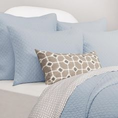 Blue Bedding from Crane & Canopy. Our collection of designer blue bedding features the highest-quality cotton, woven in a silky soft weave. Light Blue Bedding, Blue Comforter, Down Comforter, Bedding Decor, Goose Down Pillows, Cloud Lights, Blue Clouds, Blue Quilts
