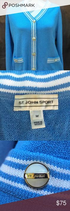 St. John Sport Cardigan Sweater A lovely dark shaded  blue, in Mint Condition St. John Sport sweater !! It's long sleeved but feels light and great for any occasion ;) !! Whether hot or cold !! Authentic with beautiful gold - tipped metal St. John Logo buttons. It's a V-neck and looks lovely over anything ;D !! They go with everything from casual luxury to very dressy. Come on Fancy Ladies, this classic & timeless outfit is for you !! St. John Sport  Sweaters V-Necks