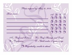rsvp with menu options example | http://www.theinvitingpear.com/images/responsecard.jpg