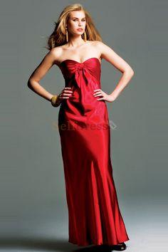 Empire Waist Red Mermaid Floor Length Sleeveless Evening Dress