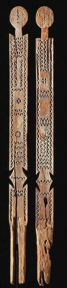 Africa | Memorial posts ~ vigango ~ from the Mijikenda people of Kenya | Wood | early 20th century