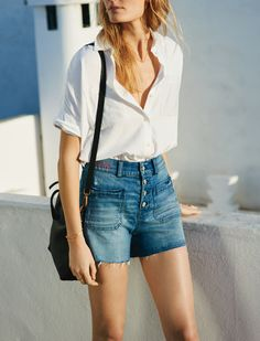 madewell high-rise denim shorts worn with the courier shirt + mini transport crossbody. #everydaymadewell