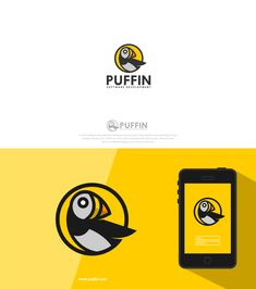 Playful and distinct puffin logo for software development company by designer chilibrand®.