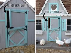 Features to think about incorporating into a chicken coop.  I like the two different sized barn doors!