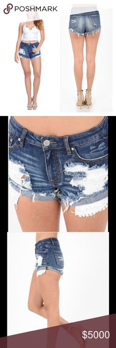 ⚡️SALE⚡️DESTROYED DENIM LACE POCKET SHORTS Denim Lace Pocket Shorts  Sexy & Cute Destroyed with Lace Underneath  Pockets  Frayed Hem Perfect for Spring & Summer  Sizes S, M, L Cotton/Spandex Peach Couture Shorts Jean Shorts