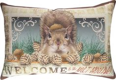 """Pillow Nut House Squirrel Indoor Outdoor 18"""" x 13"""" Cushion Durable Climaweave   eBay"""