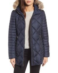 Andrew Marc   Hooded Coat With Genuine Coyote Fur Trim   Lyst