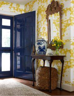 Navy lacquered door