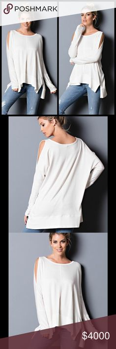 COMING SOON! IVORY LONG SLEEVE CUT OUT TOP Ivory Cut Out Shoulder Top with long sleeves. S, M, L. Tops