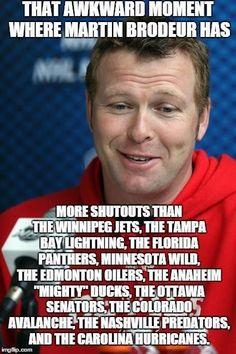 Martin Brodeur, Hockey Memes, Florida Panthers, Carolina Hurricanes, Tampa Bay Lightning, Colorado Avalanche, Minnesota Wild, Edmonton Oilers, Awkward Moments