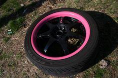 black rims with pink Pink Rims, Black Rims, Ford Gt, Audi Tt, Pink Camaro, Jeep Wrangler, Volvo, Pink Mustang, Peugeot