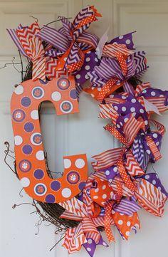 Clemson Wreath by SillySalgals on Etsy, $52.00