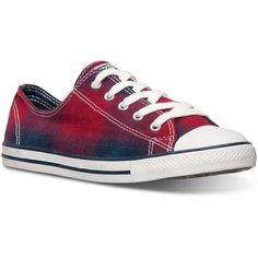 Converse Women's Chuck Taylor Dainty Plaid Casual Sneakers from Finish... ($30) ❤ liked on Polyvore featuring shoes, sneakers, converse sneakers, plaid shoes, lined shoes, converse trainers and converse footwear