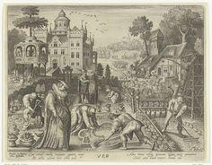 Nicolaes de Bruyn   Lente, Nicolaes de Bruyn, Francoys van Beusekom, 1581 - 1656   Tuin van kasteel met activiteiten die plaatsvinden in de lente: in de tuin wordt gesnoeid en geharkt en schapen worden geschoren op het erf van de boerderij. In een prieel worden dames het hof gemaakt. Onder in de marge staat een vers.