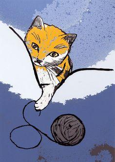 Playing Kitten - Decorative Colorful Cat Art Print