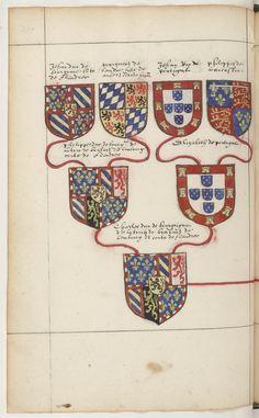 Ancestry of Charles the Bold, Duke of Burgundy (1433-1477), Notes généalogiques sur la maison d'Autriche, by Jean de Vandenesse, 1568-70.