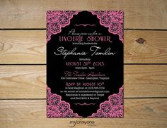 Lacey Lingerie Bridal Shower Invitation // Bachelorette, Hens Party Invitation // DIY Printable // Black and Rosy Pink