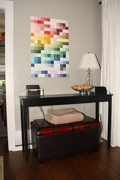 Our First Nest: Canvas Redo-- paint chip art Paint Swatch Art, Paint Chip Art, Paint Swatches, Paint Chips, Diy Wall Art, Diy Art, Wall Decor, Painted Boards, Cool Diy