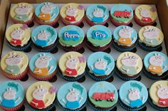 Peppa Pig Themed Birthday Cupcakes. Customer requested all the family and the car.  These were tricky to cut from freehand but I did enjoy painting George's dinosaur.