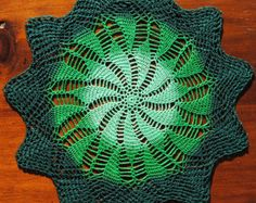 Small crochet doily, light green. green. dark green pinwheel doily, St. Patrick's Day