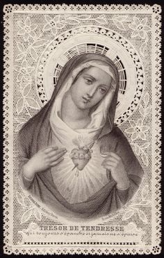 """sacred heart of Mary """" treasure of tenderness, which always responds and never despises. Religious Pictures, Religious Icons, Religious Art, Catholic Art, Catholic Saints, Madonna, Jesus E Maria, Vintage Holy Cards, Mama Mary"""
