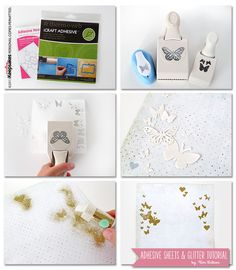 Adhesive sheets and glitter tutorial by Kim Watson for the Creating Keepsakes blog. http://www.creatingkeepsakesblog.com/blog/2013/08/scrapbook-how-to-adhesive-sheets-and-punches/