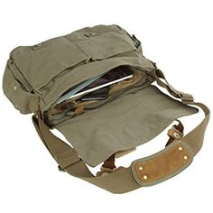 COTTON Large Durable Vintage(classic) Canvas Messenger Travel Bag School Bag with Leather Strips for Men Women(unisex) (Green) Swaggy Outfits, Cool Outfits, Cute Bags, School Bags, Aesthetic Clothes, Travel Bag, Leather Bag, Messenger Bag, Purses And Bags