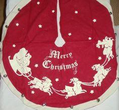 Vintage Christmas Tree Skirt ~ Pretty Green Noel Felt & Sequined ...