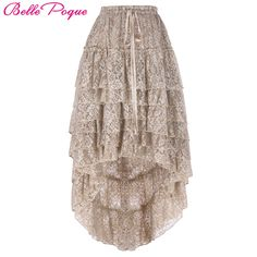 Cheap skirt fasion, Buy Quality skirt definition directly from China skirt sale Suppliers: Skirts Womens 2017 Ladies High-Low hemline design Tan Color Amelia Steampunk Ruffled lace Cake Skirt  Popular Skirt Free Size