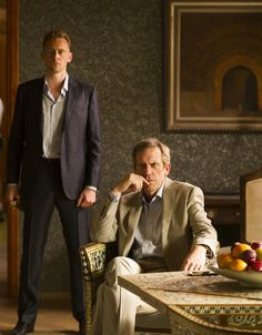 """Tom Hiddleston as Jonathan Pine (with Hugh Laurie as Richard Roper) in """"The Night Manager"""" From http://www.tomhiddleston.us/gallery/thumbnails.php?album=661"""